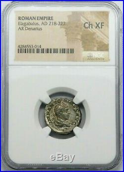 NGC Ch XF. Elagabalus. Stunning Denarius. Ancient Roman Silver Coin