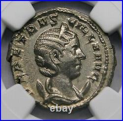 NGC Ch XF. Herennia Etruscilla Superb Double-Denarius Ancient Roman Silver Coin