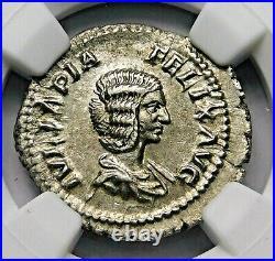 NGC Ch XF Julia Domna Denarius. Mother of Caracalla. Ancient Roman Silver Coin