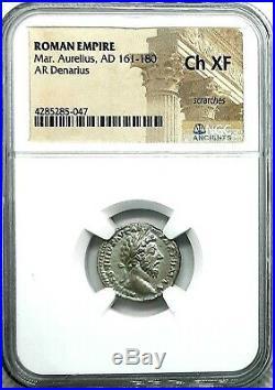 NGC Ch XF. Marcus Aurelius 161-180 AD. Superb Denarius Ancient Roman Silver Coin