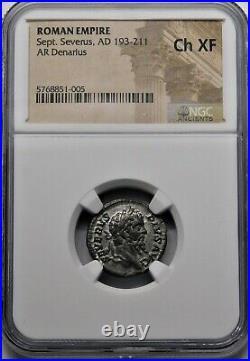 NGC Ch XF. Septimius Severus AD 209 AR Denarius. Ancient Roman Silver Coin