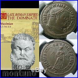 NGC GRADED AU MAXIMIAN Ancient Roman Empire Bronze Bi Nummis Coin 286-310 AD