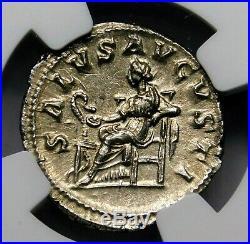 NGC (MS) Mint State. Maximinus I. Exquisite Denarius. Ancient Roman Silver Coin