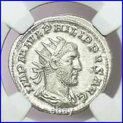 NGC MS ROMAN COINS PHILIP I, AD 244-249. AR Double-Denarius. A756