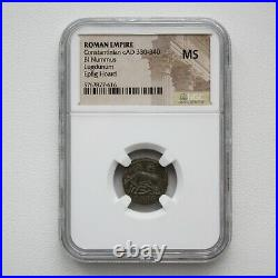 NGC MS Roman Coin / Nummus Romulus & Remus & She-Wolf 340AD from Epfig HOARD