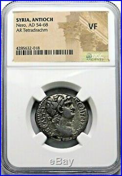 NGC VF. Nero (AD 54-68) Stunning Tetradrachm. Ancient Roman Silver Coin