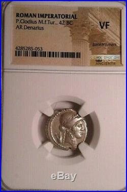 NGC VF. Roman Republic P. Clodius 42 BC. Stunning Denarius. Ancient Silver Coin
