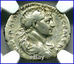NGC VF. Trajan 98-117 AD. Magnificent Denarius. Rare Ancient Roman Silver Coin