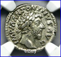 NGC XF 3/5 4/5 Marcus Aurelius. Magnificent Silver Ancient Roman Coin