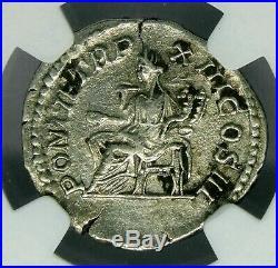 NGC XF. Caracalla 198-217 AD. Magnificent Denarius, Ancient Roman Coin Silver