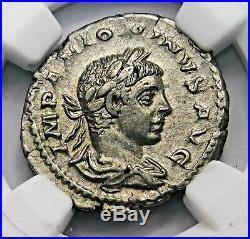 NGC XF. Elagabalus. Excellent Denarius. Ancient Roman Silver Coin