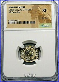 NGC XF. Elagabalus. Stunning Denarius circa AD 219-220 Ancient Roman Silver Coin
