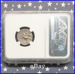 NGC XF Silus Denarius HORSEMEN holding SEVERED HEAD, Roman Republic Ancient coin