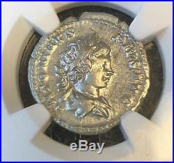 NGCRoman Silver Denarius Of Caracallaas CaesarXF+Bonus Ancient Coin