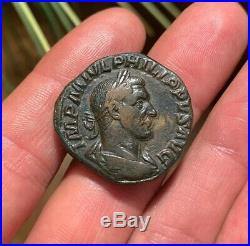 NICE! Ancient Roman Coin Sestertius PHILIP II 244-249AD SALUS RIC187a 16.4g