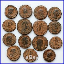 Nice Lot Of 15 Ancient Roman Bronze Coins Circa 200-300 Ad