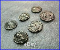 Nice Lot Of 6 Ancient Imperial Roman Silver Coins