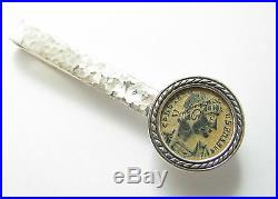 One Of A Kind 925 Sterling Ancient Roman Constantine Coin Tie Clip Hammered