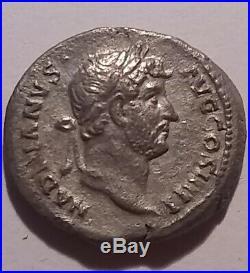 Original ancient Roman silver coin Hadrian 136 AD Denarius, Tellus, Mother earth