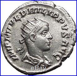 PHILIP II Roman Caesar 247AD Silver Rare Ancient Roman Coin Aequitas i55609