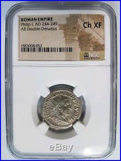 Philip I Roman Empire 244-249 AD NGC CH XF Double Denarius Ancient Angel Coin