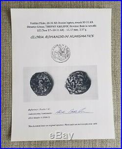 Pontius Pilate Authentic Genuine Ancient Biblical Roman Judea Coin with COA