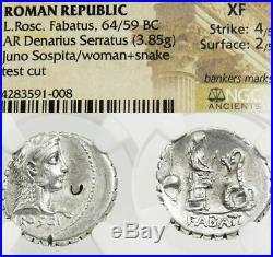 Priestess Snake age Pompey JULIUS CAESAR NGC XF Roscia Ancient Roman Silver Coin