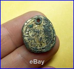 RARE ANCIENT Fourree BARBARIAN imitation ROMAN GOLD COIN PENDANT Aureus #0665
