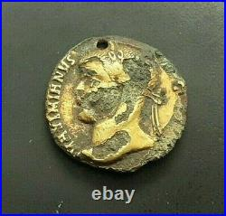 RARE ANCIENT Fourree BARBARIAN imitation ROMAN GOLD COIN PENDANT Aureus #933