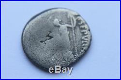 RARE ANCIENT ROMAN JULIUS CAESAR PORTRAIT SILVER DENARIUS COIN 1stCENT BC CAESAR