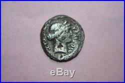 RARE ANCIENT ROMAN JULIUS CAESAR SILVER DENARIUS COIN 1st CENT BC CAESAR