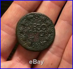 RARE Ancient Roman Coin SPAIN AE As TIBERIUS 14-37AD SEGO BRIGA Wreath 11.25g