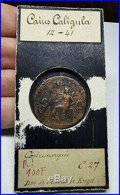 RARE Ancient Roman Imperial Caligula 37-38 AD Bronze As Coin