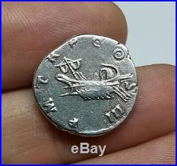 RARE Ancient Roman Imperial Hadrian 117-138 AD Silver Denarius Coin GALLEY LEFT