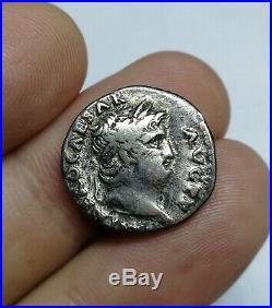 RARE Ancient Roman Imperial Nero Silver Denarius Coin AQUILA BETWEEN TWO SIGNA