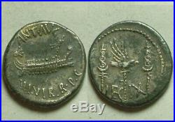 RARE Genuine ancient Roman silver coin Marc Antony legionary denarius Galley IX