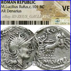 ROMA / Victory 2 Horse Chariot NGC Lucilia 1 Ancient Roman Silver Denarius Coin