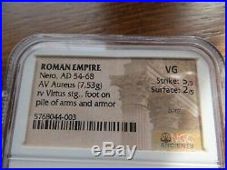 ROMAN AV AUREUS NERO, ANCIENT GOLD COIN AD 54-68 NGC VG, (7.53g)