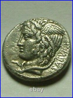 Rare Ancient Roman silver Coin COSSUTIA L Cossutius Sabula Denarius 72 BC Medusa