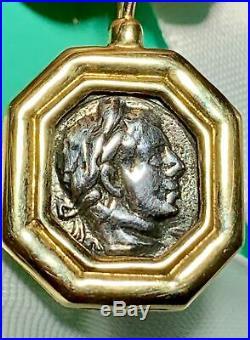 Rare Art Deco Ancient Roman Augustus Coin 14k 585 Gold Earrings Modern Signed Rz