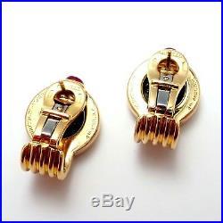 Rare! Authentic Bulgari Bvlgari 18k Yellow Gold Ruby Ancient Roman Coin Earrings