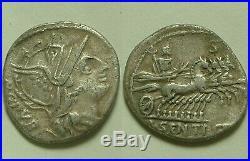 Rare Genuine ancient Roman silver coin Sentia L Sentius Roma cf Jupiter quadriga
