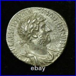 Rare Hadrian Silver Roman Denarius Pm Tr P Cos III Coin Au Condition 18mm