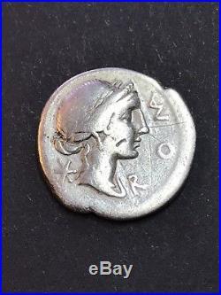Rare Manius Aemilius Lepidus. Silver Denarius. Ancient Roman Republican Coin