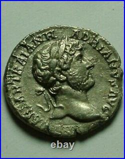 Rare Original ancient Roman silver coin denarius Hadrian 117 PUDICITIA