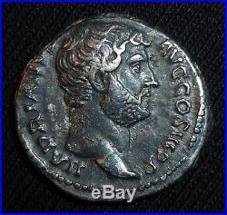 Rare ROMAN Ancient Coin Silver Denarius of Emperor HADRIAN Circa 134-138 AD
