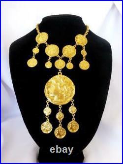 Rare! VINTAGE 1970s Crown Trifari Ancient Greco-Roman Gold-Tone Coin Necklace
