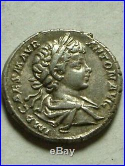 Rare ancient Roman silver coin denarius Caracalla Felicitas Caduceus, cornucopia