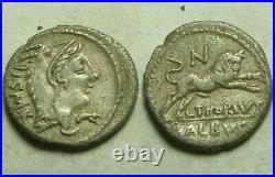 Rare ancient Roman silver coin denarius L Thorius Balbus 105BC Juno Sospita/Bull
