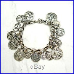 Retired Silpada Ancient Roman Coin Charm Oxidized Sterling Silver Bracelet B1624